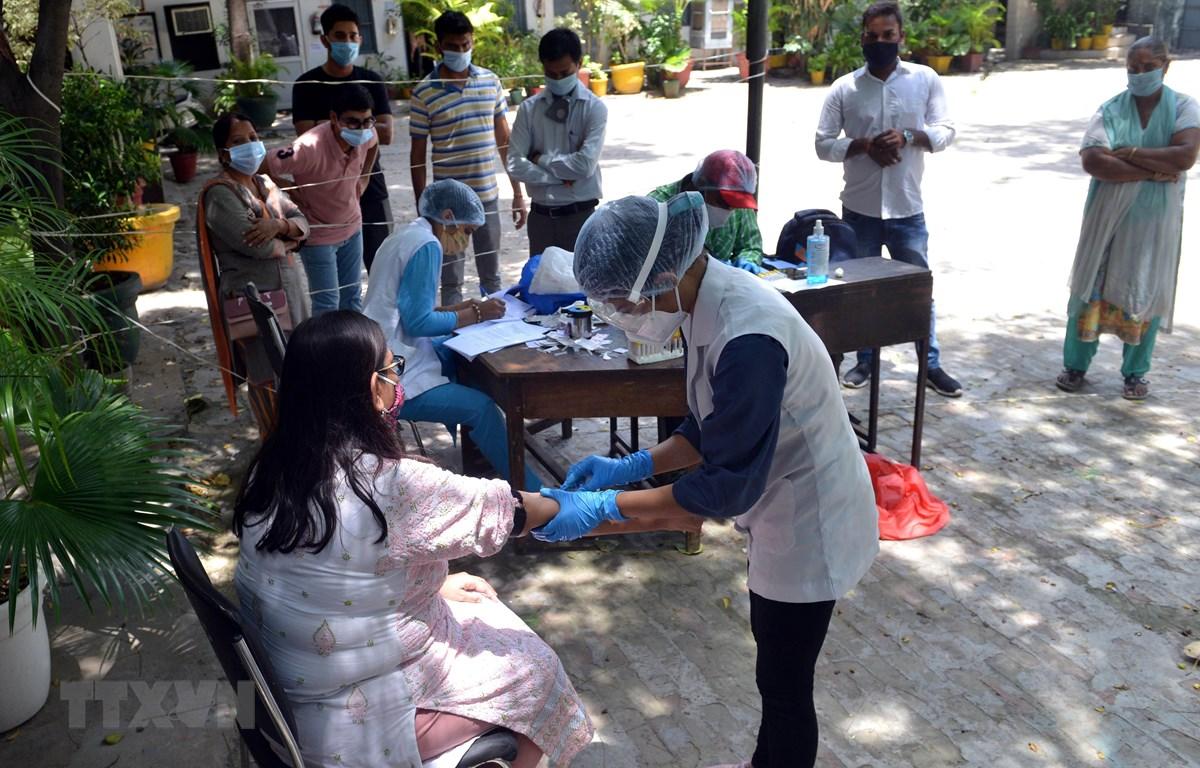 Nhân viên y tế lấy máu xét nghiệm COVID-19 cho người dân tại New Delhi, Ấn Độ. (Ảnh: THX/TTXVN)