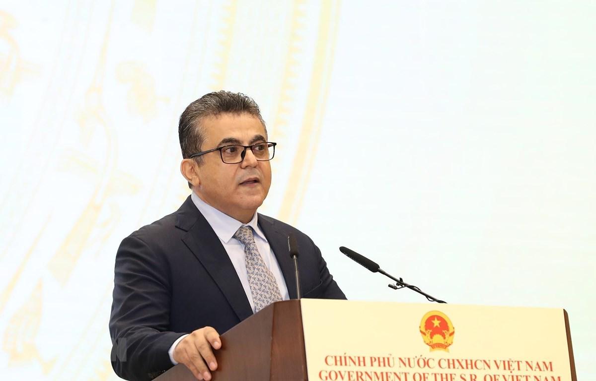 Đại sứ Palestine tại Việt Nam Saadi Salama, Trưởng Phái đoàn Ngoại giao phát biểu chúc mừng 75 năm Quốc khánh nước CHXHCN Việt Nam (2/9/1945-2/9/2020). (Ảnh: Lâm Khánh/TTXVN)