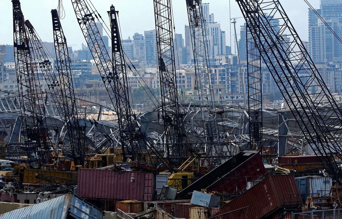 Đống đổ nát sau vụ nổ tại cảng Beirut, Liban, ngày 14/8/2020. (Ảnh: THX/TTXVN)