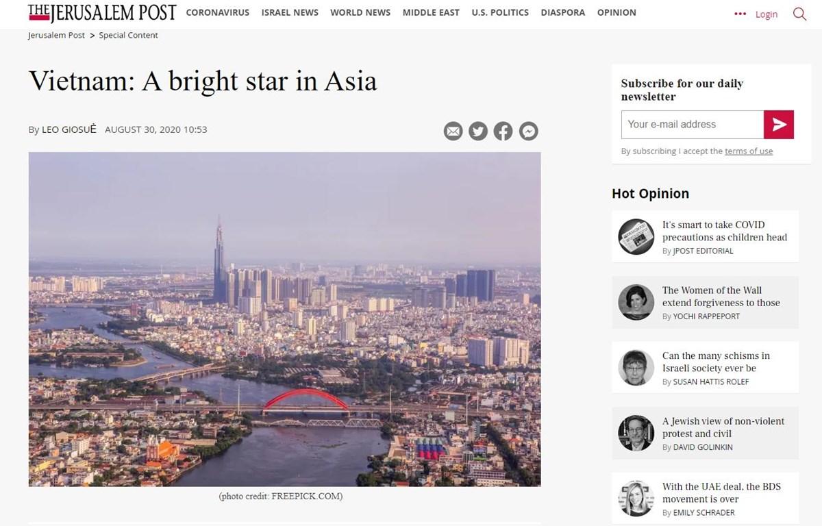 Bài viết đánh giá cao những thành tựu ngoại giao và kinh tế của Việt Nam trên trang Jerusalem Post. (Ảnh chụp màn hình)