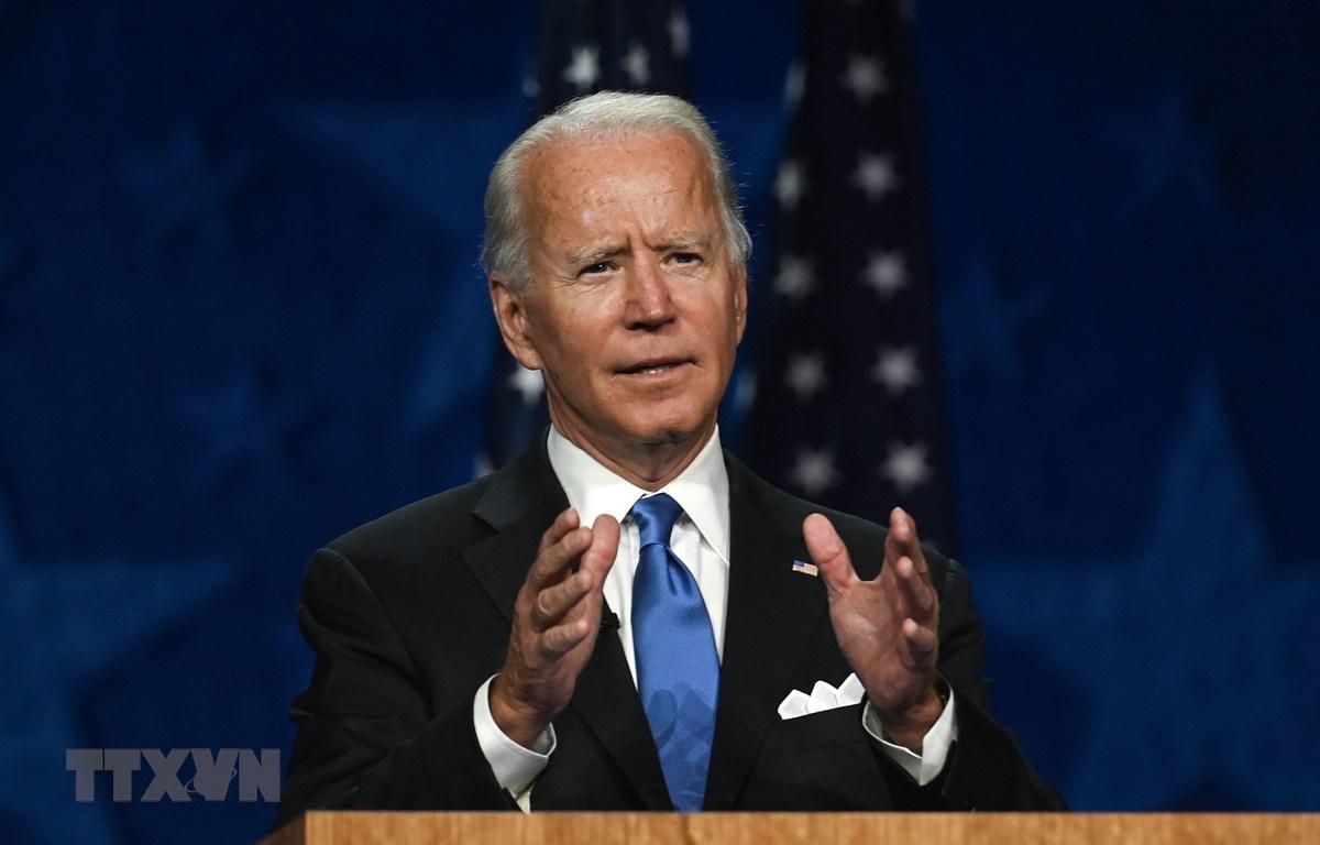 Cựu Phó Tổng thống Joe Biden phát biểu tại Wilmington, Delaware, Mỹ, ngày 20/8/2020. (Ảnh: AFP/TTXVN)
