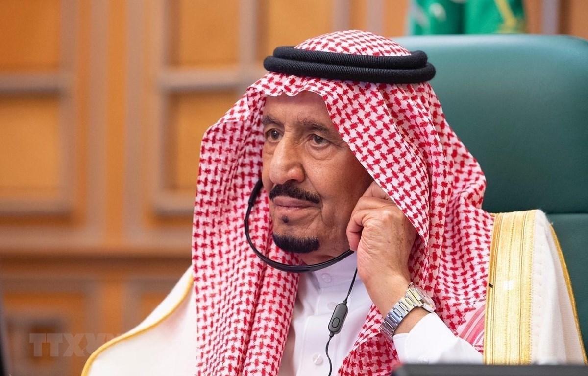 Quốc vương Saudi Arabia Salman bin Abdulaziz al Saud tại một hội nghị ở Riyadh ngày 26/3/2020. (Ảnh: THX/TTXVN)