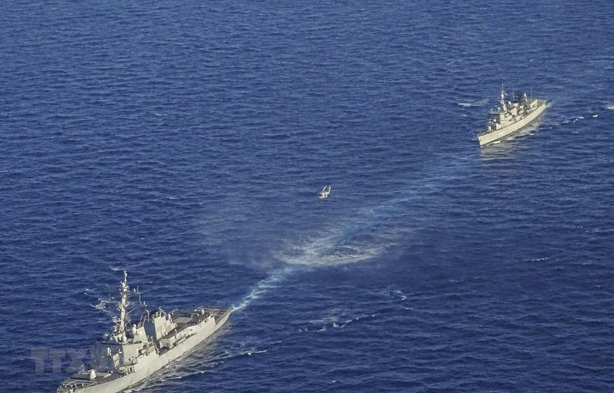 Tàu chiến của Hy Lạp tham gia cuộc tập trận ở phía Đông Địa Trung Hải ngày 24/8/2020. (Ảnh: AFP/TTXVN)