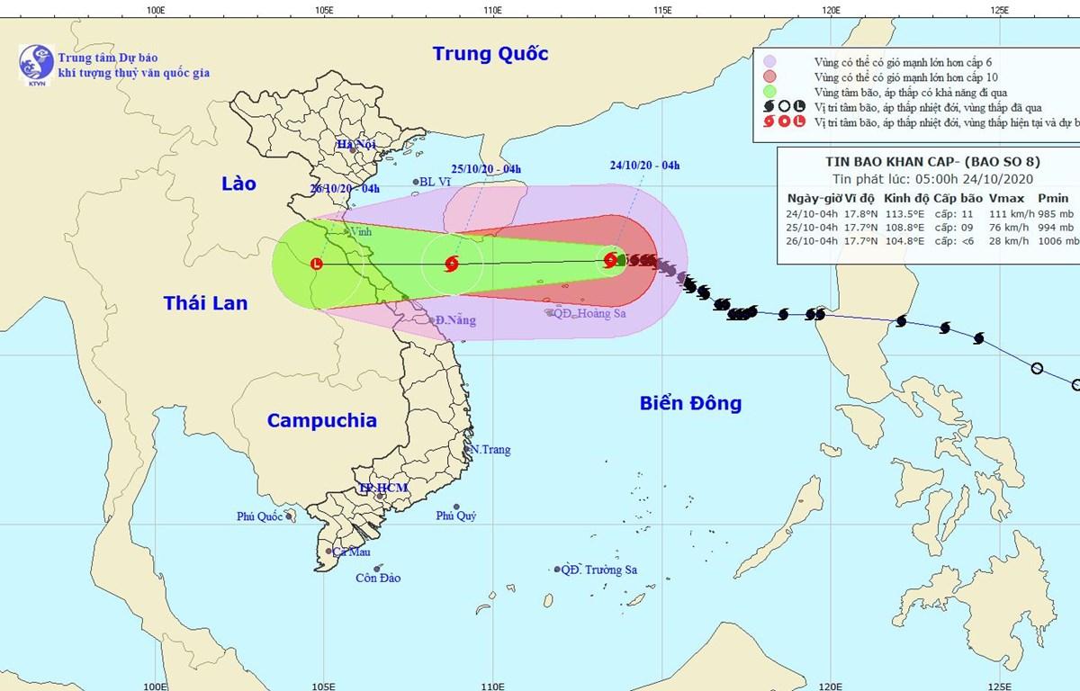 Vị trí và đường đi của bão số 8. (Nguồn: nchmf.gov.vn)