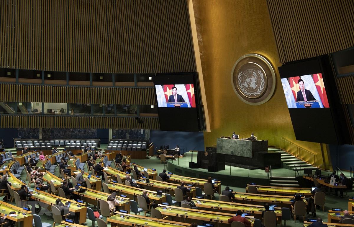 Phiên họp toàn thể cấp cao của Đại hội đồng Liên hợp quốc khóa 75 kỷ niệm Ngày Quốc tế về xóa bỏ hoàn toàn vũ khí hạt nhân ngày 26/9. (Ảnh: Hữu Thanh/TTXVN)