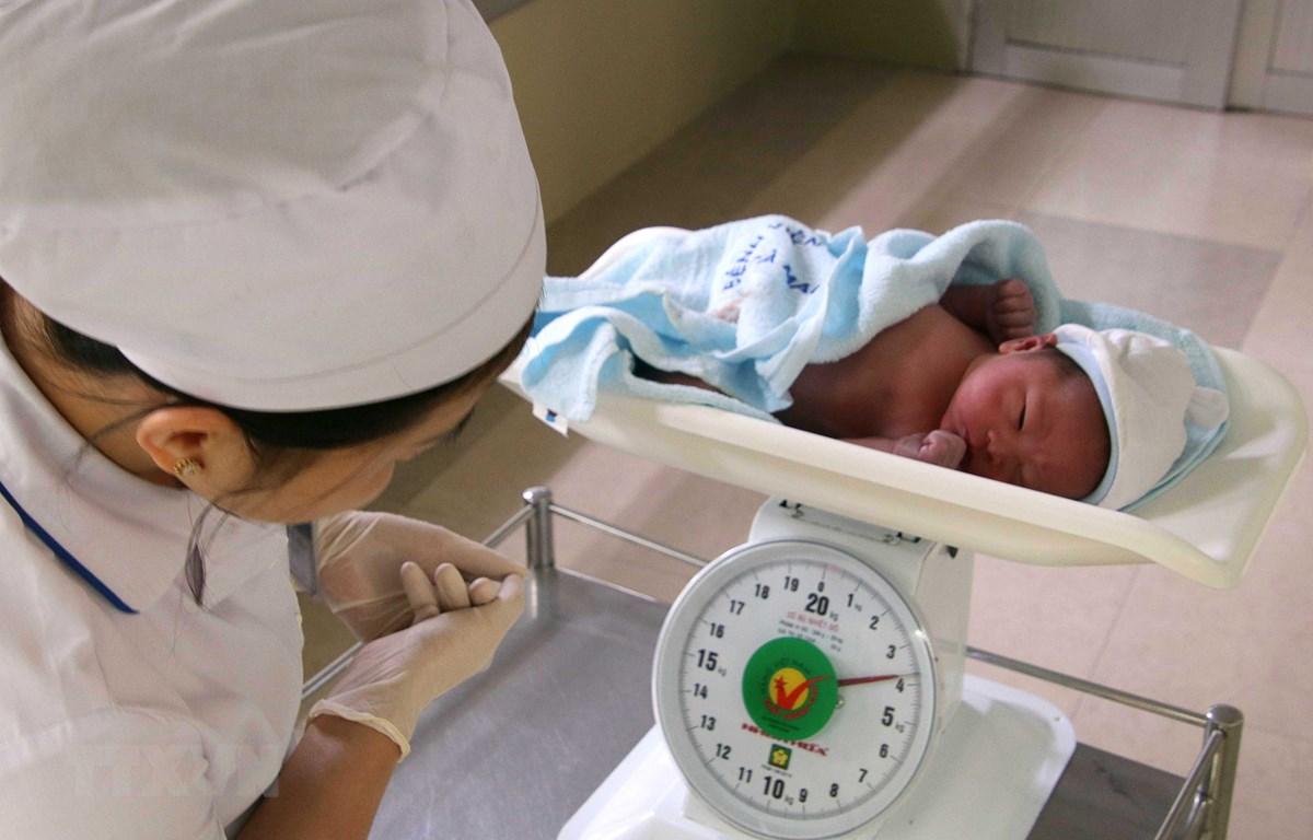 Kiểm tra cân nặng trẻ sơ sinh tại Khoa sanh Bệnh viện Sản-Nhi Cà Mau. (Ảnh: Kim Há/TTXVN)