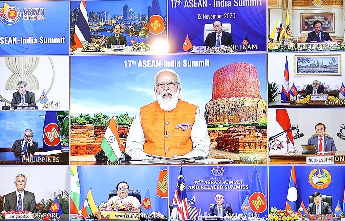 Thủ tướng Ấn Độ Narendra Modi phát biểu khai mạc Hội nghị Cấp cao ASEAN - Ấn Độ lần thứ 17. (Ảnh: Thống Nhất/TTXVN)