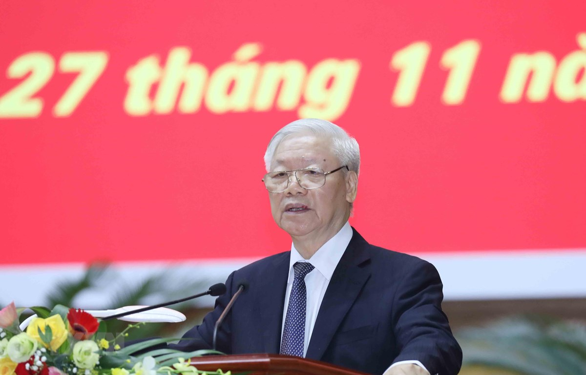 Tổng Bí thư, Chủ tịch nước Nguyễn Phú Trọng phát biểu chỉ đạo Hội nghị. (Ảnh: Phương Hoa/TTXVN)