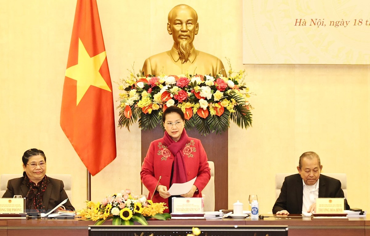 Chủ tịch Quốc hội Nguyễn Thị Kim Ngân, Chủ tịch Hội đồng bầu cử Quốc gia phát biểu khai mạc. (Ảnh: Trọng Đức/TTXVN)