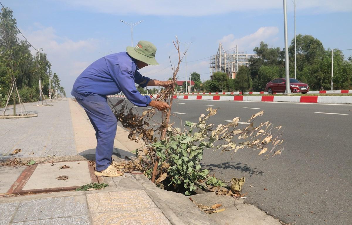 Ông Nguyễn Văn Xinh, phường Long Hương, thành phố Bà Rịa, cắm cành cây tại hố ga bị mất nắp để cảnh báo cho người đi đường. (Ảnh: Hoàng Nhị/TTXVN)