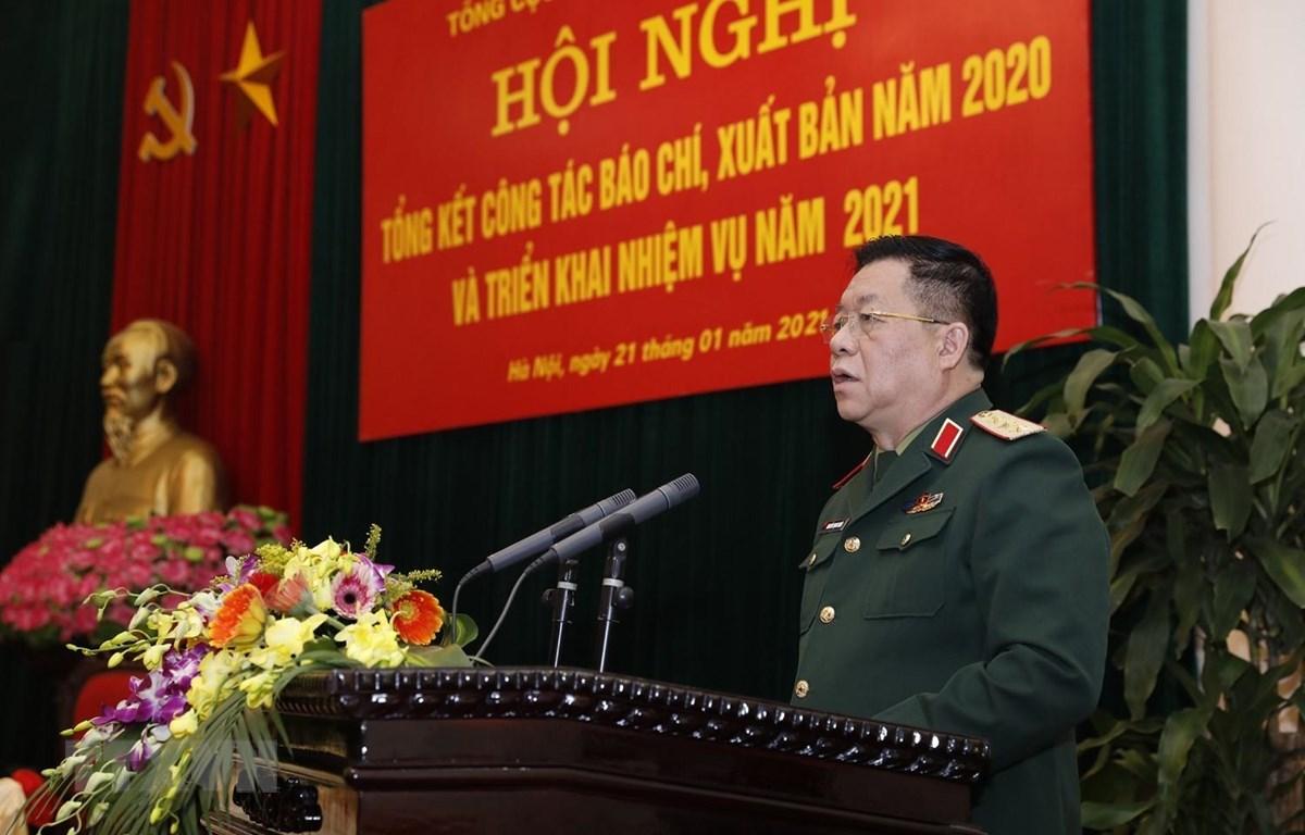 Thượng tướng Nguyễn Trọng Nghĩa, Phó Chủ nhiệm Tổng cục Chính trị QĐND Việt Nam chủ trì hội nghị. (Ảnh: Dương Giang/TTXVN)