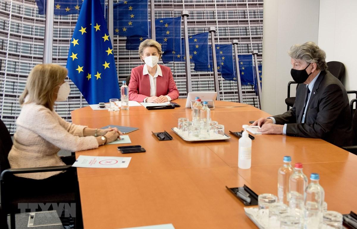 Chủ tịch Ủy ban châu Âu (EC) Ursula Von der Leyen (giữa), Ủy viên châu Âu phụ trách y tế Stella Kyriakides (trái) và Ủy viên châu Âu phụ trách vấn đề thị trường nội khối Thierry Breton trong cuộc họp trực tuyến với đại diện các hãng dược phẩm lớn, tại Bru