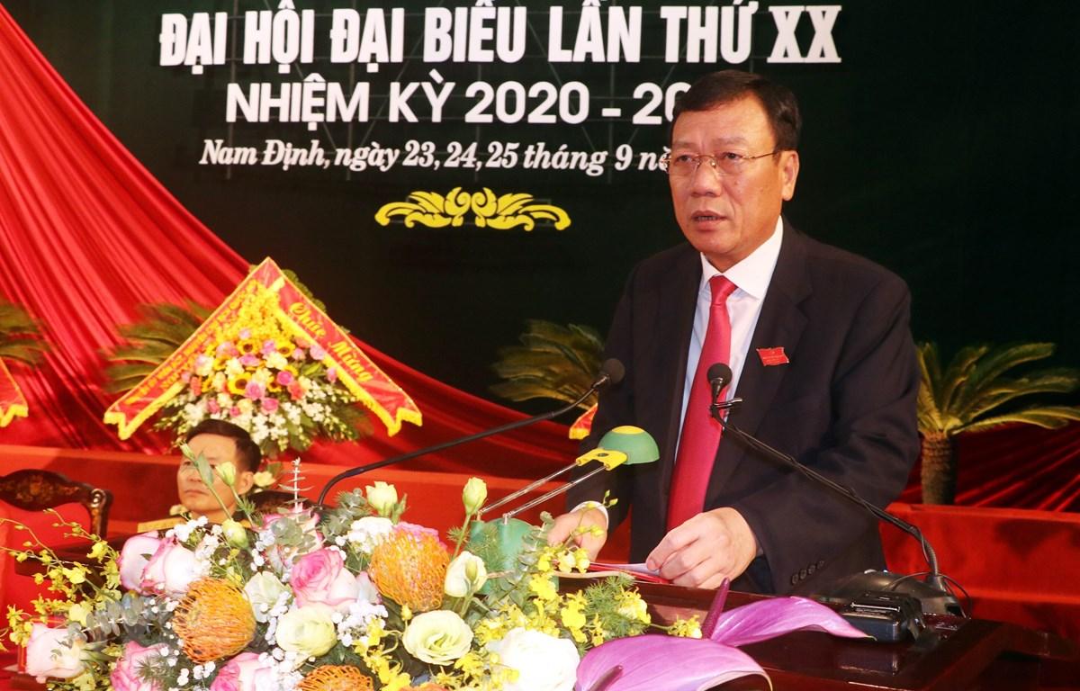 Bí thư Tỉnh ủy Nam Định Đoàn Hồng Phong tại Đại hội đại biểu Đảng bộ tỉnh Nam Định tháng 9/2020. (Ảnh: Văn Đạt/TTXVN)