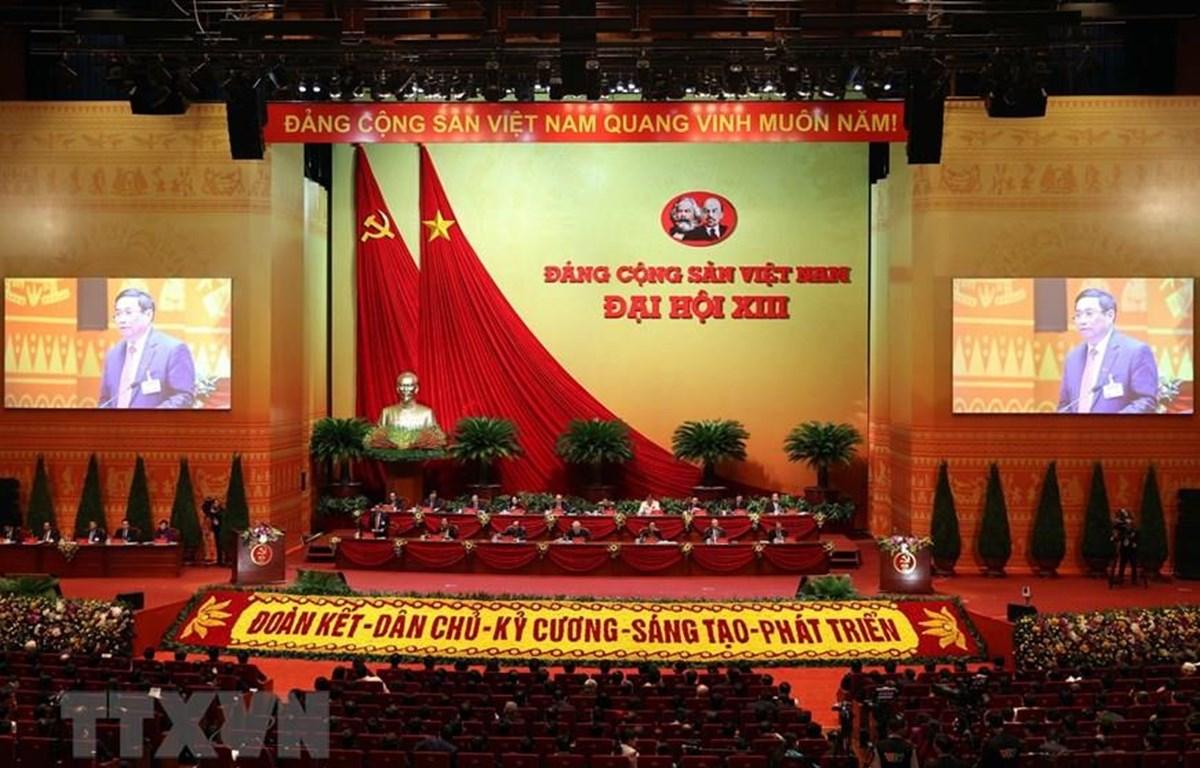 Quang cảnh phiên làm việc chiều 27/1 của Đại hội XIII, tại hội trường Trung tâm Hội nghị Quốc gia. (Ảnh: TTXVN)