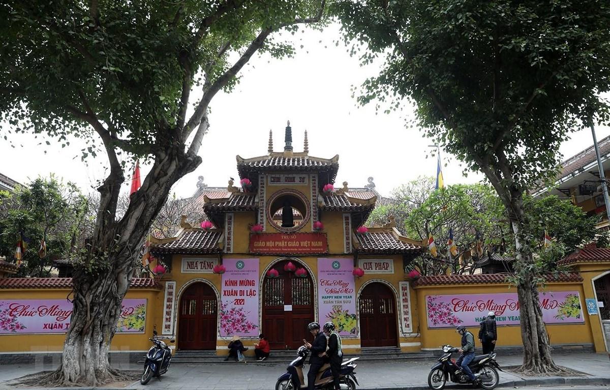 Chùa Quán Sứ, trụ sở của Giáo hội Phật giáo Việt Nam đóng cửa phòng tránh COVID-19. (Ảnh: Phan Tuấn Anh/TTXVN)