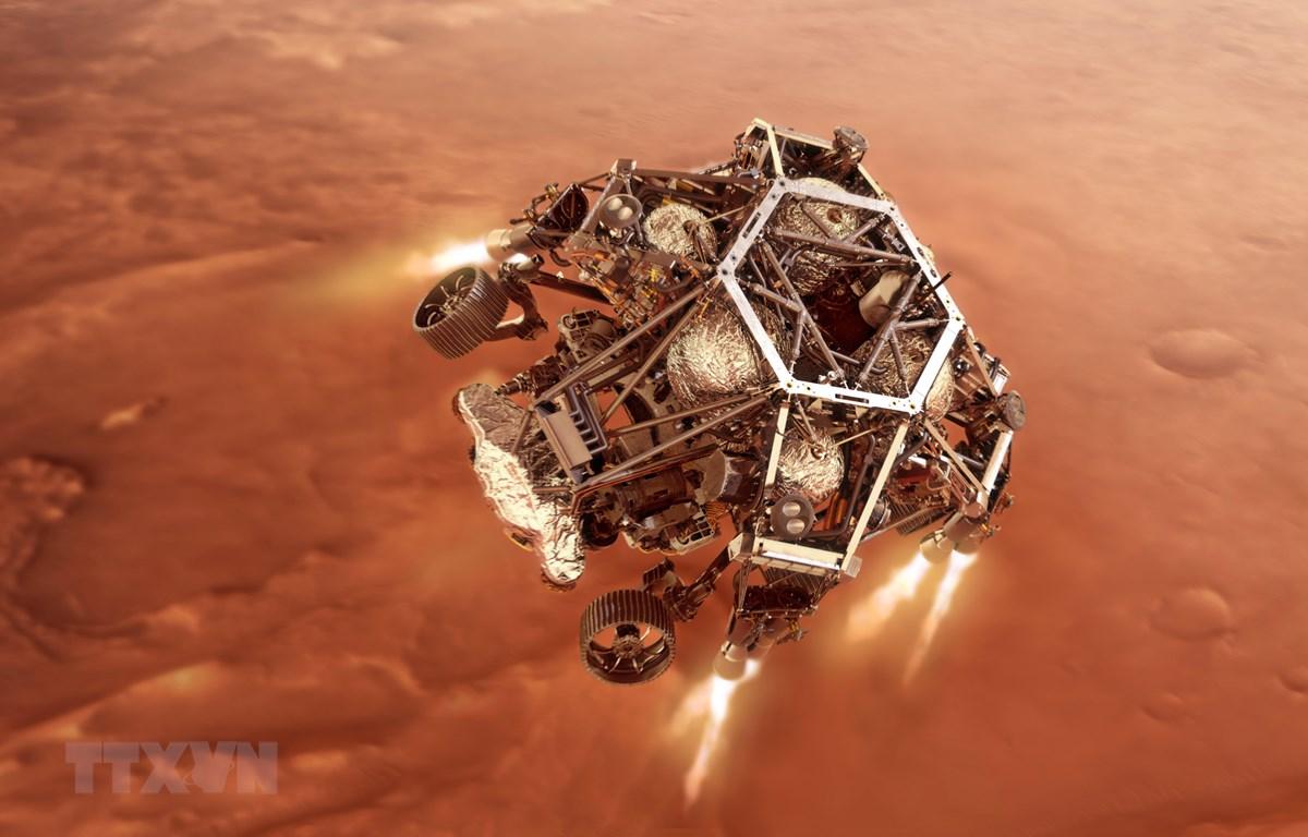 Hình ảnh mô phỏng tàu thăm dò Perseverance tiến gần tới bề mặt sao Hỏa. Ảnh do NASA cung cấp. (Nguồn: THX/TTXVN)