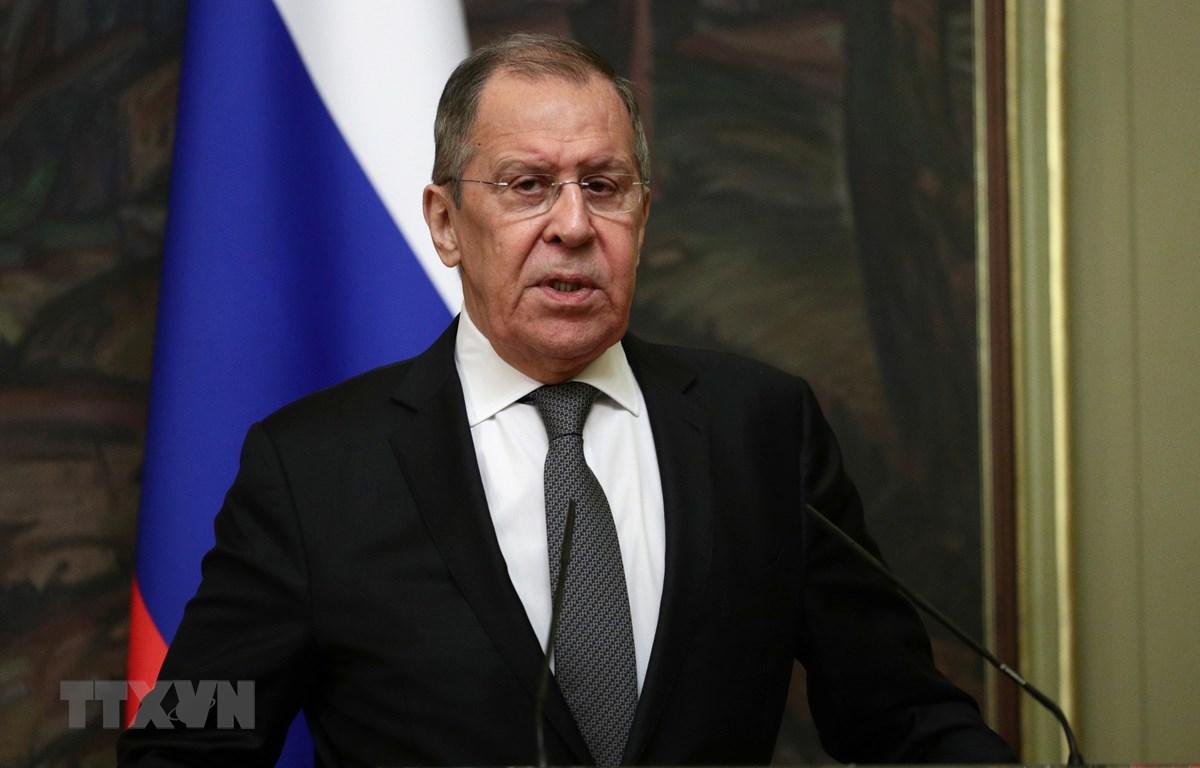 Ngoại trưởng Nga Sergey Lavrov phát biểu tại cuộc họp báo ở Moskva ngày 14-12-2020. Ảnh: AFP/TTXVN