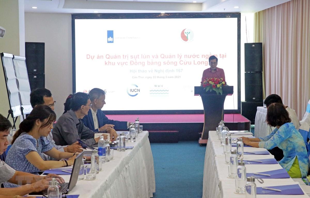 Thạc sỹ Nguyễn Hữu Thiện, đại diện Liên minh Bảo tồn thiên nhiên quốc tế điều hành Hội thảo. (Ảnh: Trung Kiên/TTXVN)