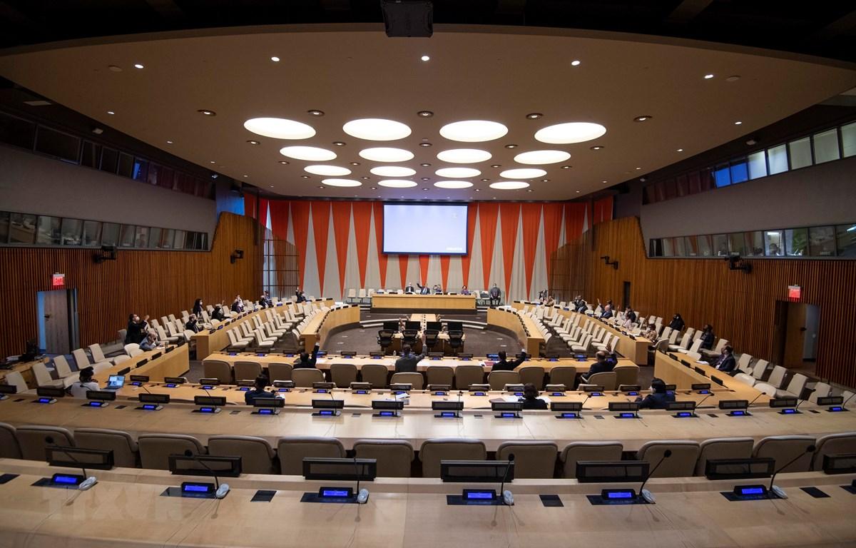 Toàn cảnh cuộc họp Hội đồng bảo an Liên hợp quốc tại New York, Mỹ, ngày 14/7/2020. (Ảnh: AFP/TTXVN)