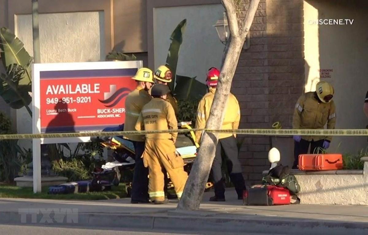 Cảnh sát phong tỏa hiện trường vụ xả súng tại hạt Orange, bang California, Mỹ ngày 1/4/2021. (Ảnh: OnScene.TV/TTXVN)