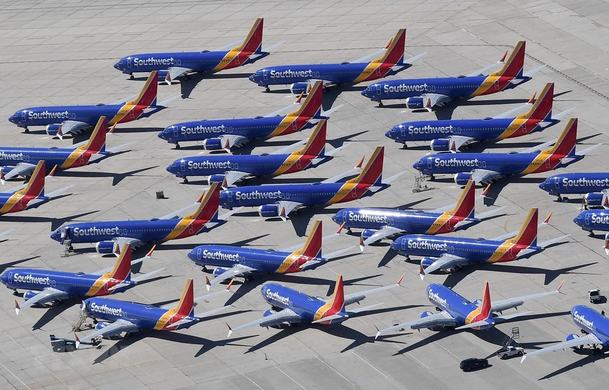 Máy bay Boeing 737 MAX của Southwest Airlines tại sân bay ở Victorville, California, Mỹ, ngày 28/3/2019. (Ảnh: AFP/TTXVN)