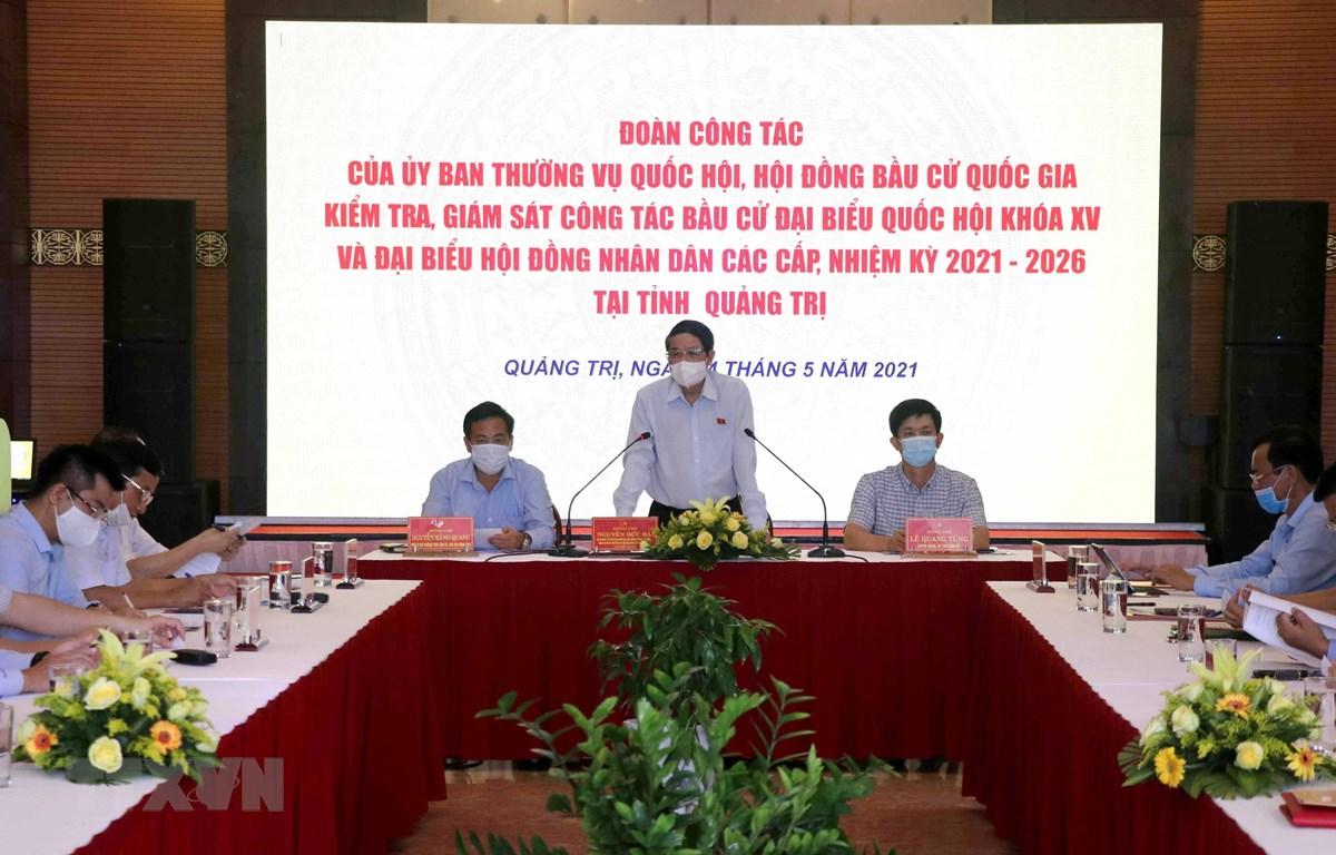 Phó Chủ tịch Quốc hội Nguyễn Đức Hải phát biểu tại buổi làm việc. (Ảnh: Nguyên Lý/TTXVN)