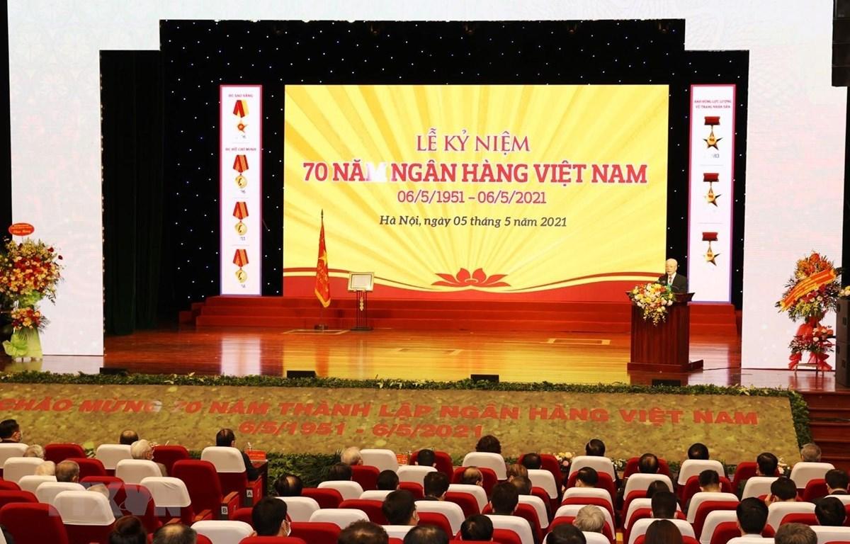 Toàn cảnh Tổng Bí thư Nguyễn Phú Trọng phát biểu tại Lễ kỷ niệm. (Ảnh: Trí Dũng/TTXVN)