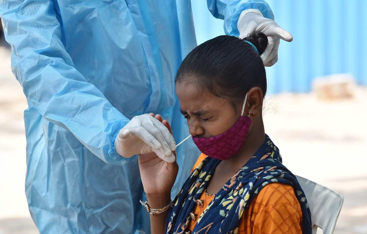 Nhân viên y tế lấy mẫu xét nghiệm COVID-19 cho người dân tại Hyderabad, Ấn Độ, ngày 11/5/2021. (Ảnh: THX/TTXVN)