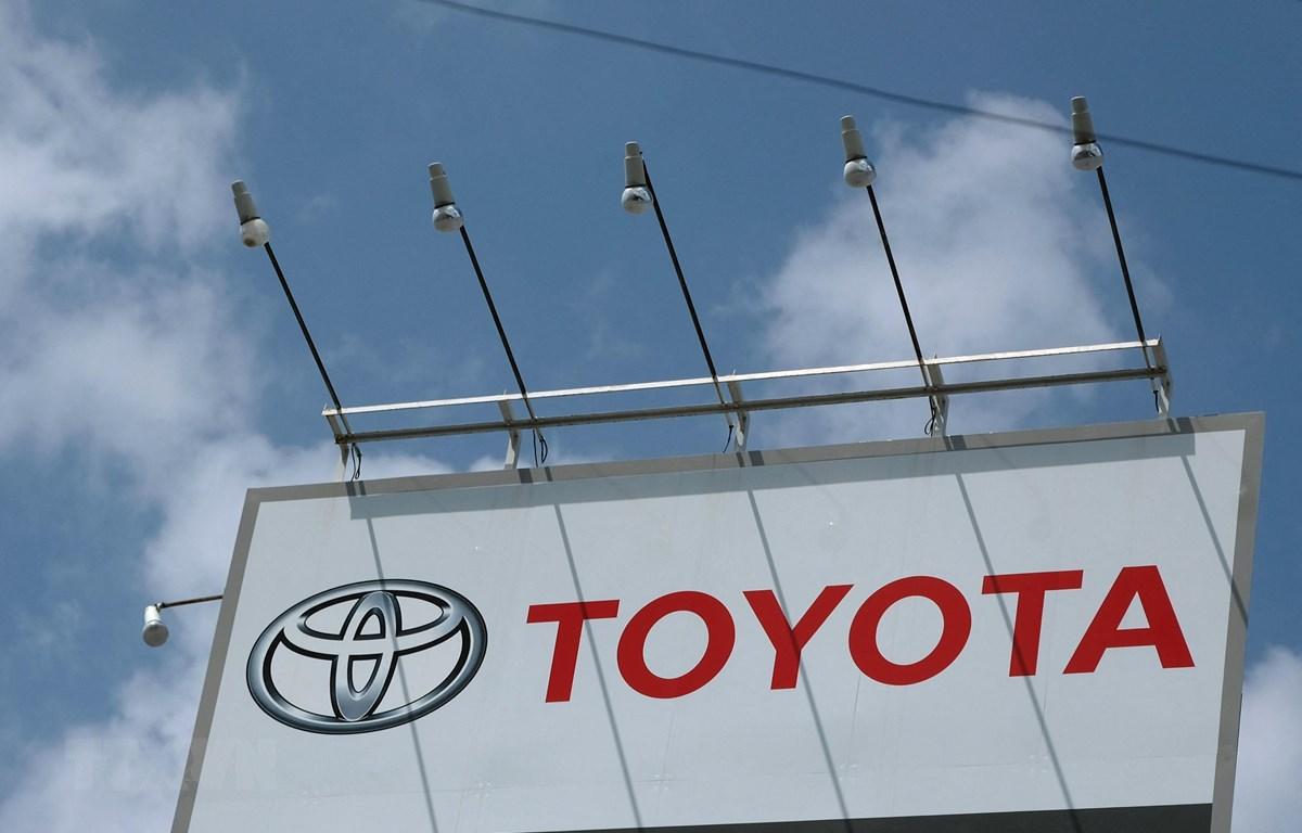 Biểu tượng hãng sản xuất ôtô Toyota của Nhật Bản. (Ảnh: AFP/TTXVN)