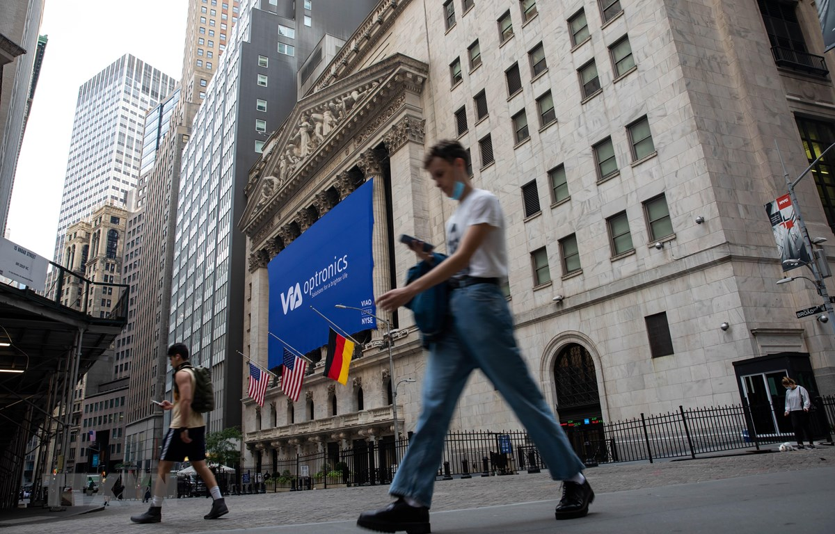 Quang cảnh bên ngoài Sàn giao dịch chứng khoán Mỹ ở New York. (Ảnh: THX/TTXVN)