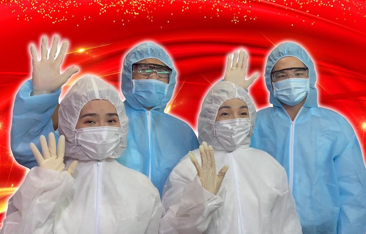 Các nghệ sỹ hát trong MV 'Nước mắt và nụ cười' của Sân khấu Sen Việt thực hiện các quy tắc an toàn trong quá trình ghi hình MV. (Nguồn: thanhnien.vn)