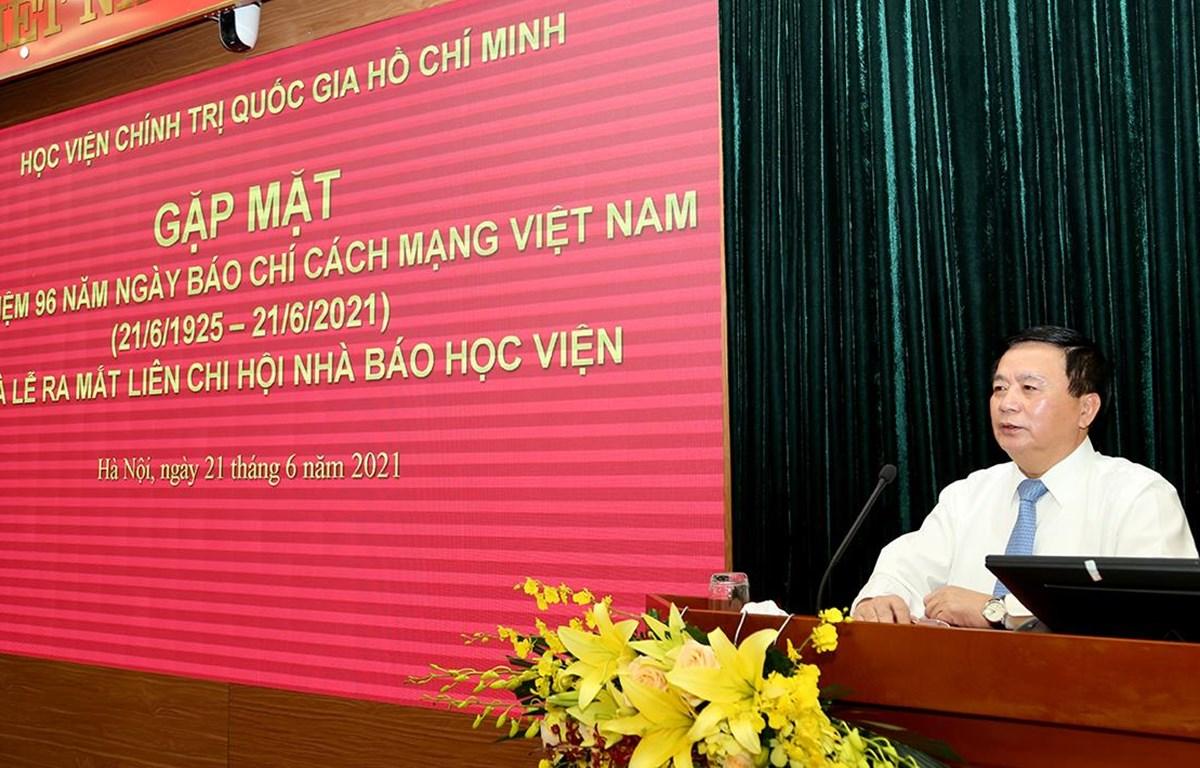 GS,TS Nguyễn Xuân Thắng phát biểu tại buổi gặp mặt. (Nguồn: hcma.vn)