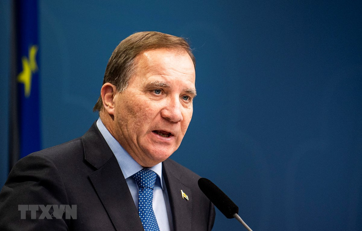 Thủ tướng Thụy Điển Stefan Lofven trong cuộc họp báo tại Stockholm. (Ảnh: AFP/TTXVN)