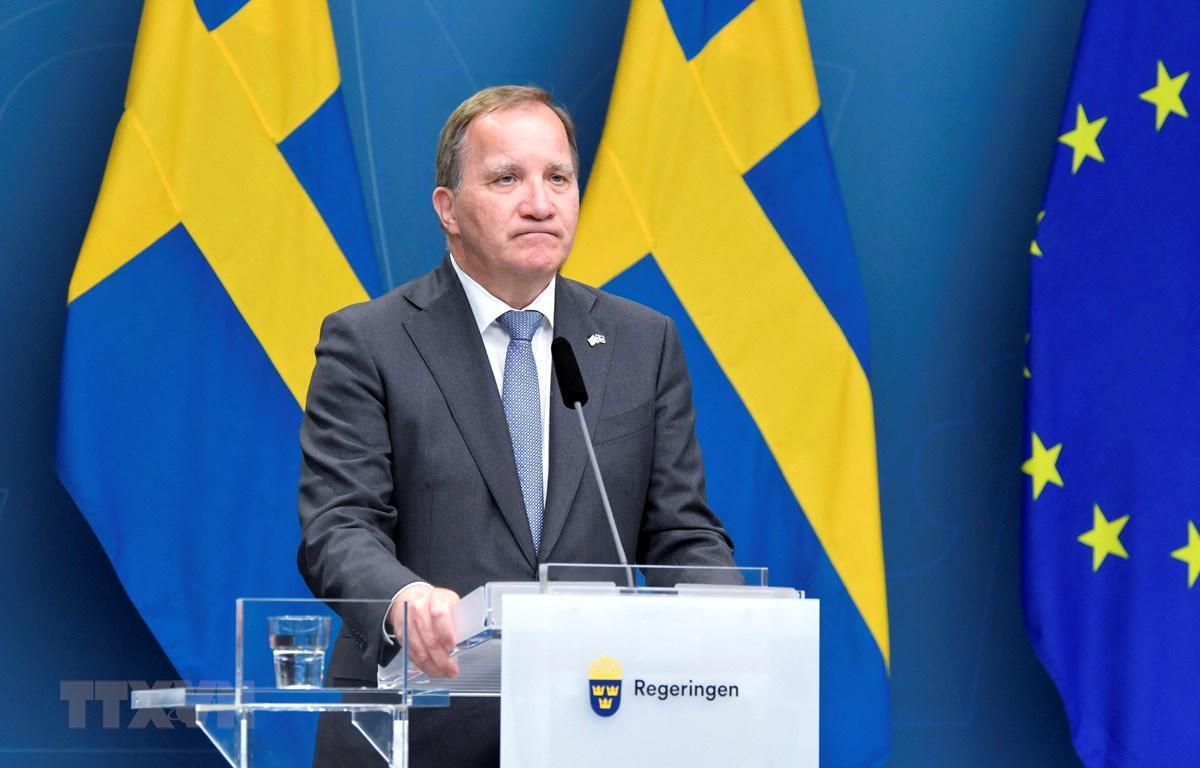 Thủ tướng Thụy Điển Stefan Lofven trong cuộc họp báo tại Stockholm, ngày 21/6/2021. (Ảnh: AFP/TTXVN)
