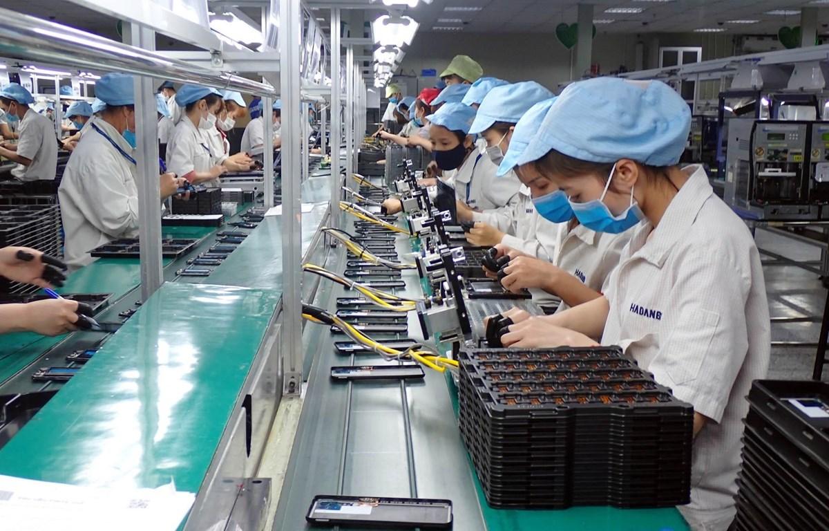 Công nhân Công ty TNHH Handanbi Vina lắp ráp linh kiện điện thoại tại KCN Điềm Thụy, tỉnh Thái Nguyên. (Ảnh: Anh Tuấn/TTXVN)
