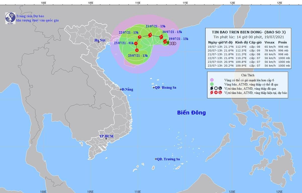 Hình ảnh về cơn bão số 3. (Nguồn: nchmf.gov.vn)