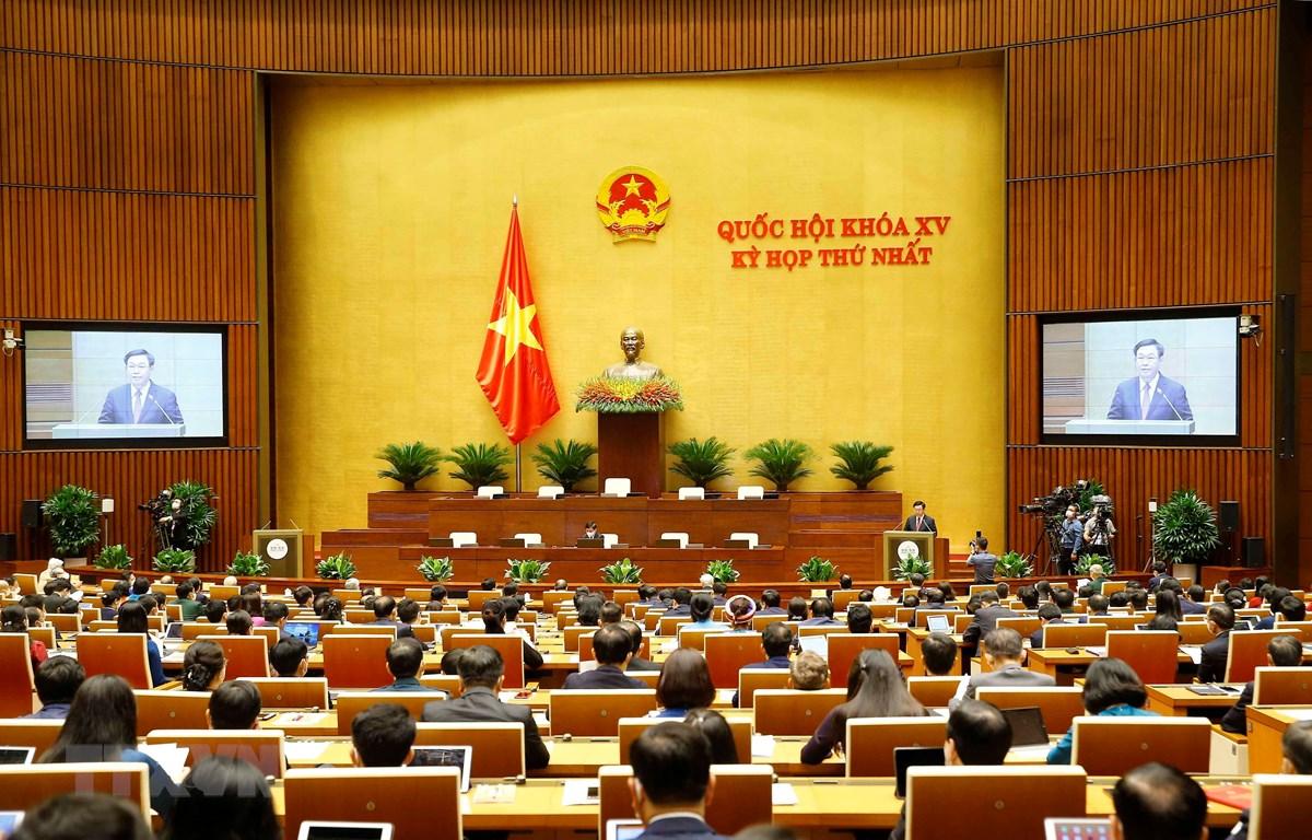 Chủ tịch Quốc hội khóa XIV Vương Đình Huệ phát biểu khai mạc. (Ảnh: Doãn Tấn/TTXVN)