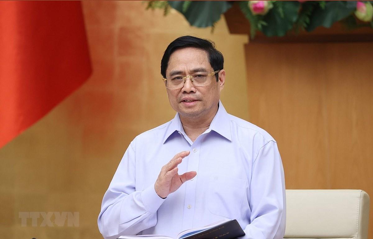 """Thủ tướng Phạm Minh Chính nhận định """"đây là cuộc chiến trường kỳ, chúng ta chuẩn bị tâm thế, nguồn lực, không lơ là, chủ quan, mất cảnh giác."""" (Ảnh: Dương Giang-TTXVN)"""