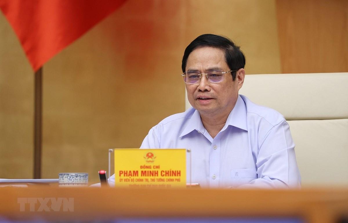 Thủ tướng Phạm Minh Chính, Trưởng Ban Chỉ đạo chủ trì làm việc với các địa phương và 9.043 xã, phường, thị trấn trên cả nước. (Ảnh: Dương Giang/TTXVN)