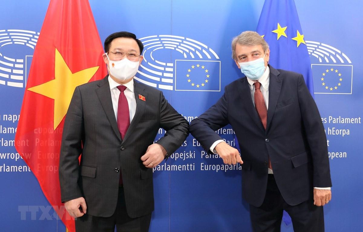 Chủ tịch Quốc hội Vương Đình Huệ và Chủ tịch Nghị viện châu Âu David Sassoli. (Ảnh: Doãn Tấn/TTXVN)