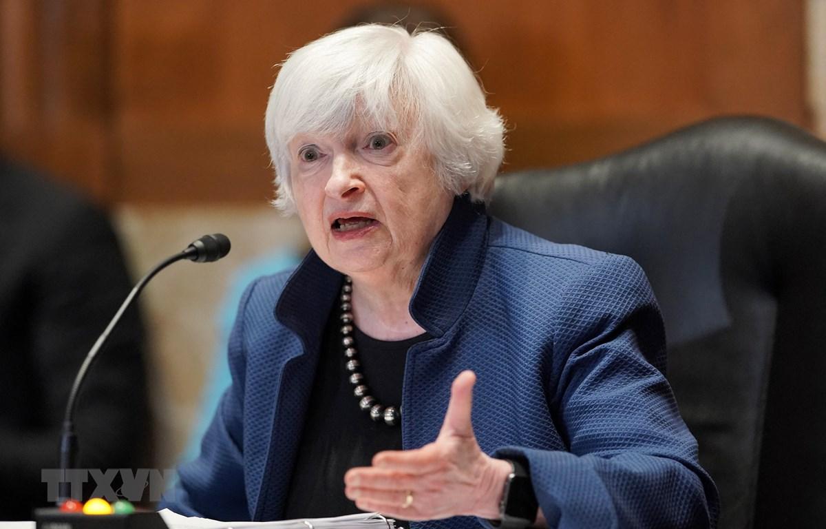Bộ trưởng Tài chính Mỹ Janet Yellen phát biểu tại Washington, DC, ngày 23/6/2021. (Ảnh: AFP/TTXVN)