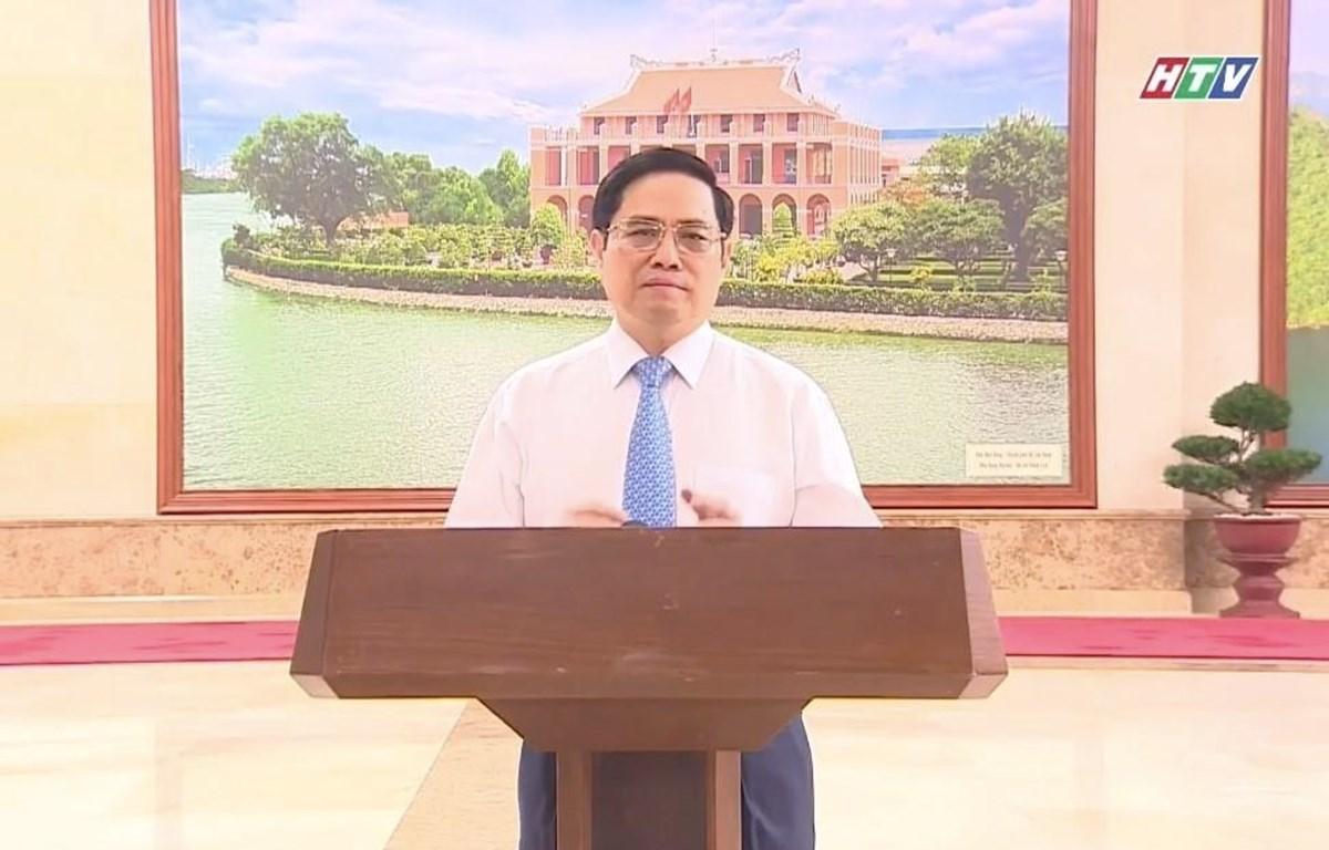 Thủ tướng Chính phủ Phạm Minh Chính phát biểu tại chương trình trực tuyến (ảnh chụp qua màn hình). (Ảnh: Thu Hương/TTXVN)