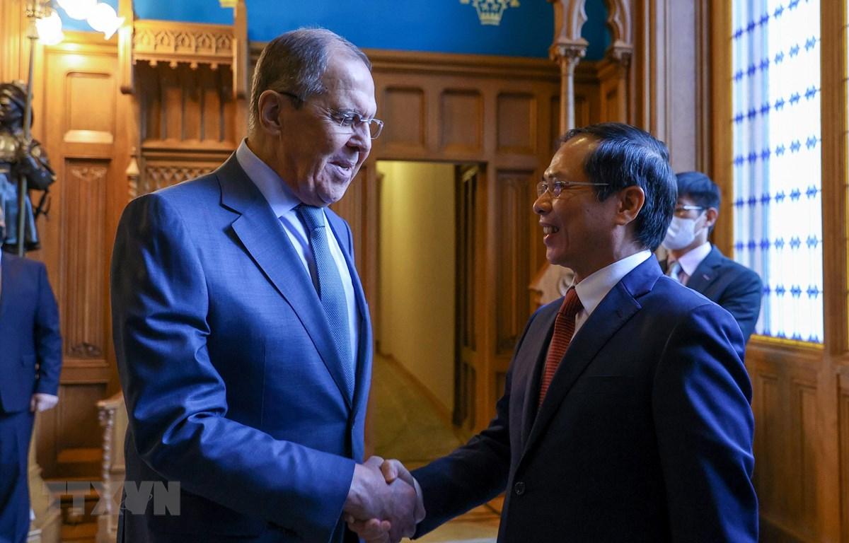 Bộ trưởng Ngoại giao Nga Sergei Lavrov đón Bộ trưởng Ngoại giao Bùi Thanh Sơn. (Ảnh: Trần Hiếu/TTXVN)