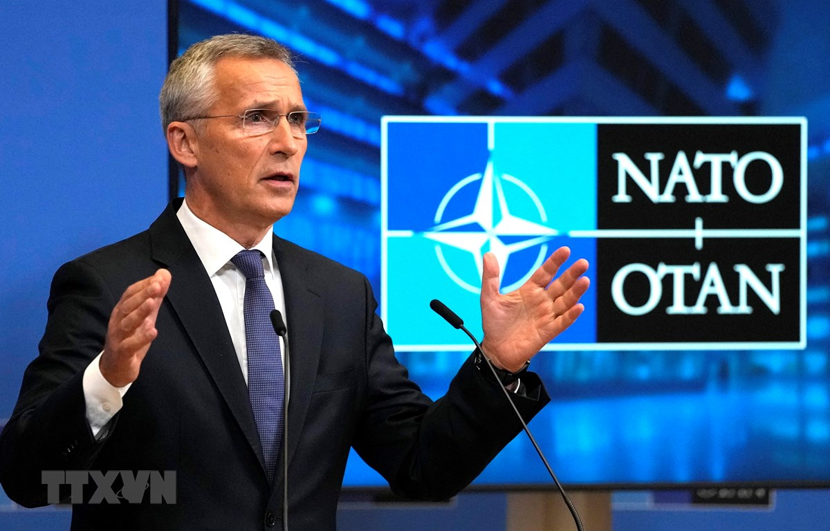 Tổng thư ký NATO Jens Stoltenberg phát biểu trong cuộc họp báo sau cuộc họp của các cố vấn an ninh quốc gia tại Brussels, Bỉ, ngày 7/10/2021. (Ảnh: AFP/TTXVN)