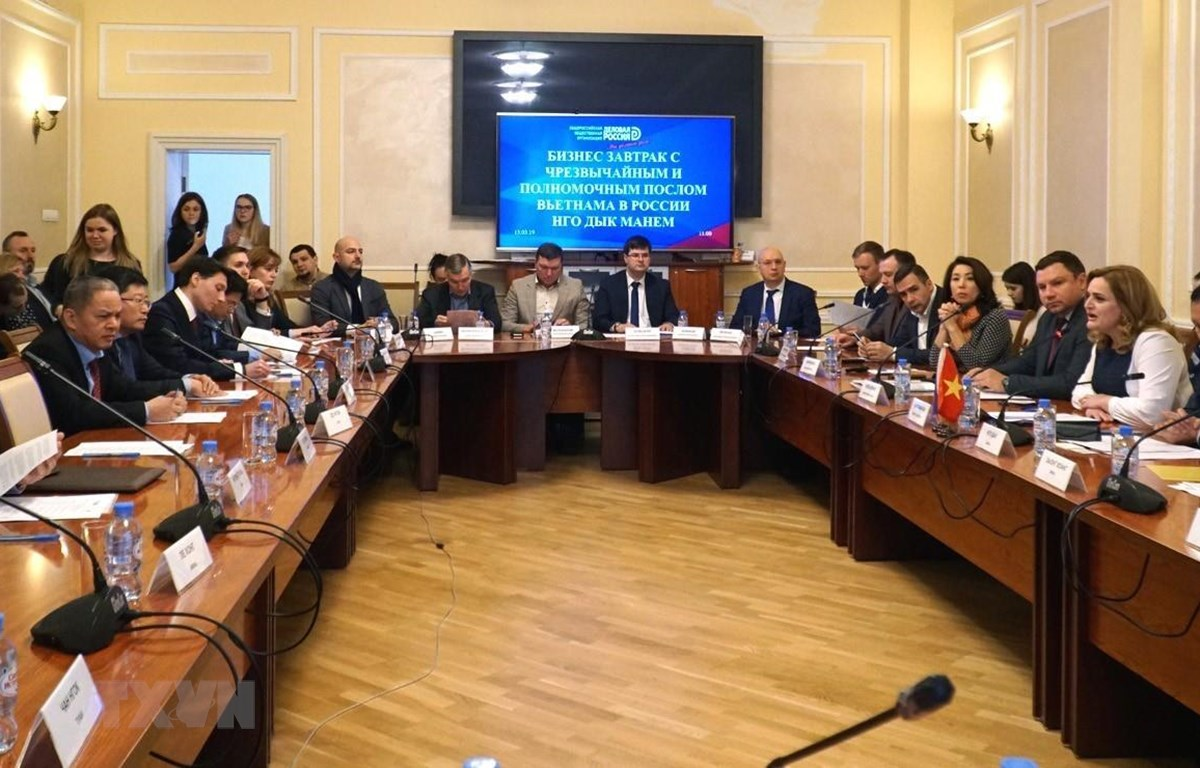 Cuộc gặp làm việc giữa đại diện của các doanh nghiệp vừa và nhỏ hai nước Nga và Việt Nam. (Ảnh: Tâm Hằng/TTXVN)