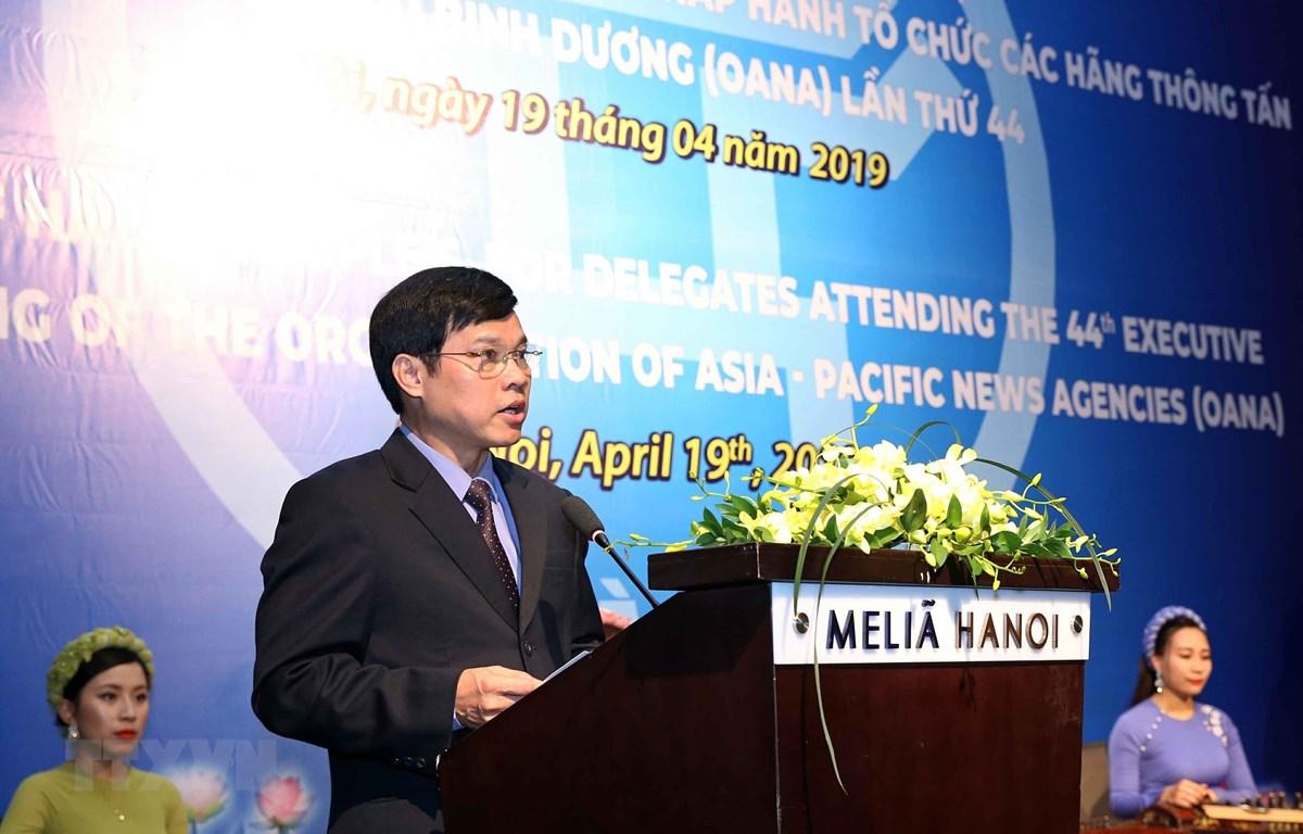 Phó Chủ tịch UBND Thành phố Hà Nội Ngô Văn Quý phát biểu chào mừng. (Ảnh: TTXVN)