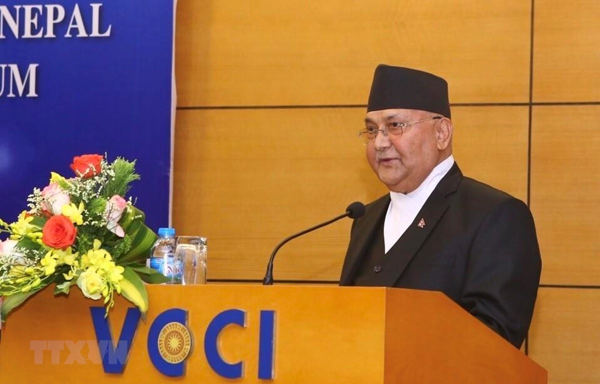 Thủ tướng Nepal Khadga Prasad Sharma Oli phát biểu tại Diễn đàn Doanh nghiệp Việt Nam-Nepal (Ảnh: Minh Quyết/TTXVN)