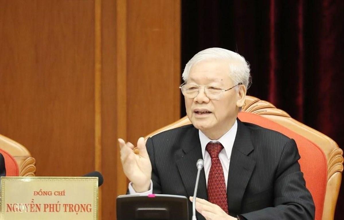Tổng Bí thư, Chủ tịch nước Nguyễn Phú Trọng chủ trì và phát biểu khai mạc hội nghị. (Ảnh: Trí Dũng/TTXVN)
