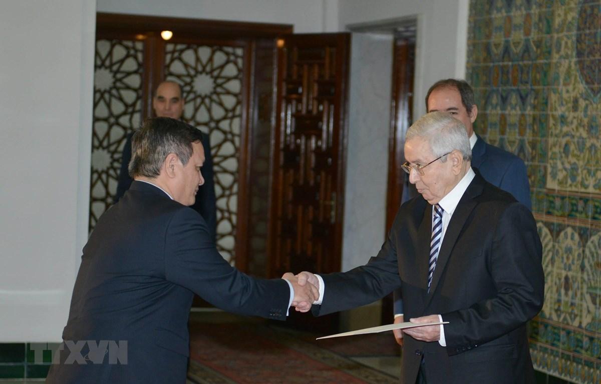 Đại sứ Phạm Quốc Trụ trao Quốc Thư cho Tổng thống tạm quyền Abdelkader Bensalah, tại thủ đô Algiers ngày 16/5. (Ảnh: APS/TTXVN)