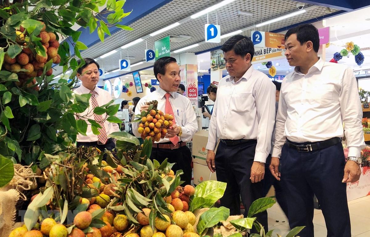 Sản phẩm vải thiều Lục Ngạn, Bắc Giang được kinh doanh tại 700 điểm bán thuộc Saigon Co.op. (Ảnh: Mỹ Phương/TTXVN)